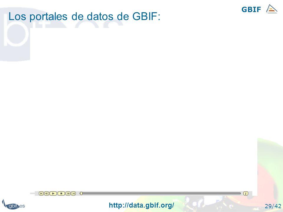 GBIF 29/42 Los portales de datos de GBIF: http://data.gbif.org/