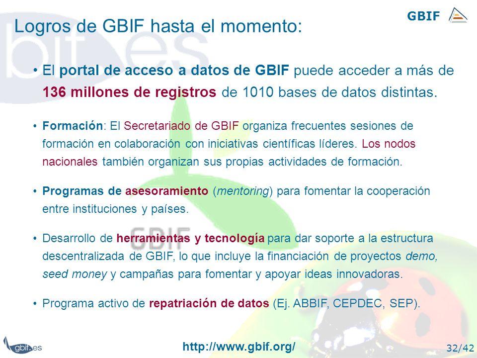 GBIF 32/42 Logros de GBIF hasta el momento: El portal de acceso a datos de GBIF puede acceder a más de 136 millones de registros de 1010 bases de dato