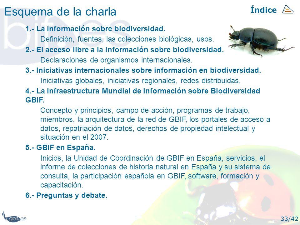 Índice 33/42 1.- La información sobre biodiversidad. Definición, fuentes, las colecciones biológicas, usos. 2.- El acceso libre a la información sobre