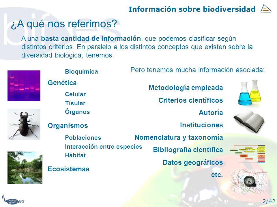 Información sobre biodiversidad 2/42 ¿A qué nos referimos? A una basta cantidad de información, que podemos clasificar según distintos criterios. En p