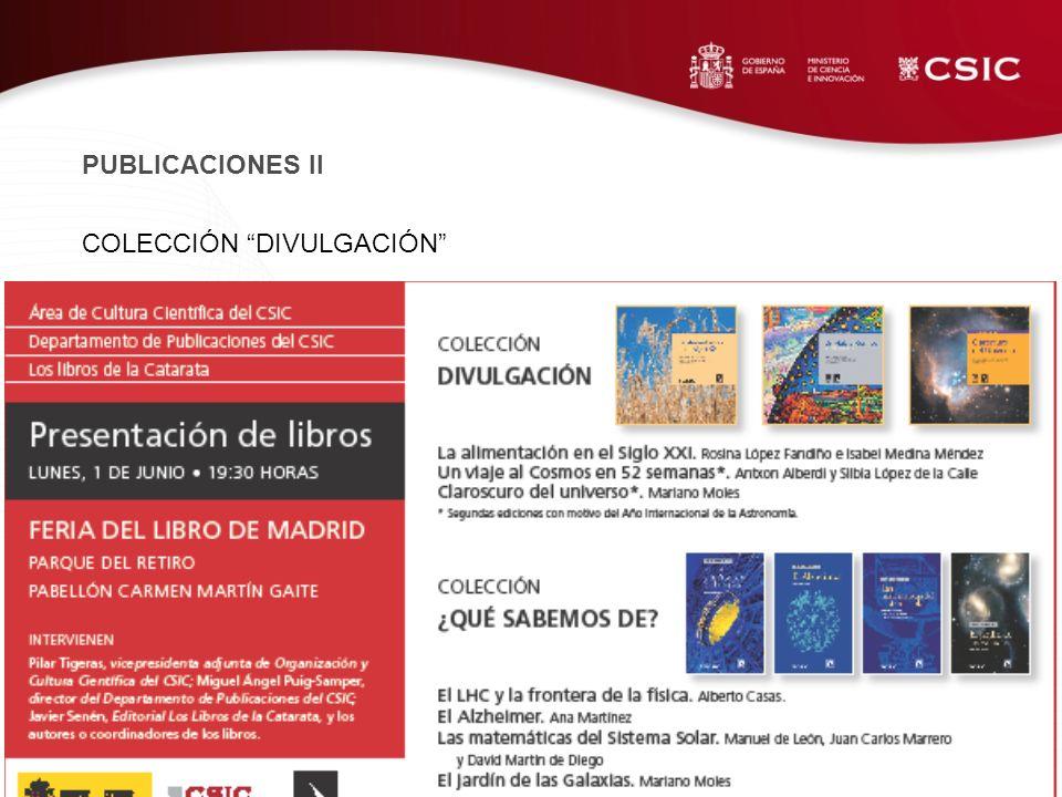 COLECCIÓN DIVULGACIÓN PUBLICACIONES II
