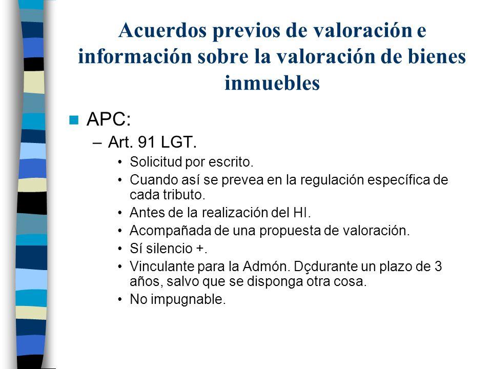 Acuerdos previos de valoración e información sobre la valoración de bienes inmuebles APC: –Art. 91 LGT. Solicitud por escrito. Cuando así se prevea en