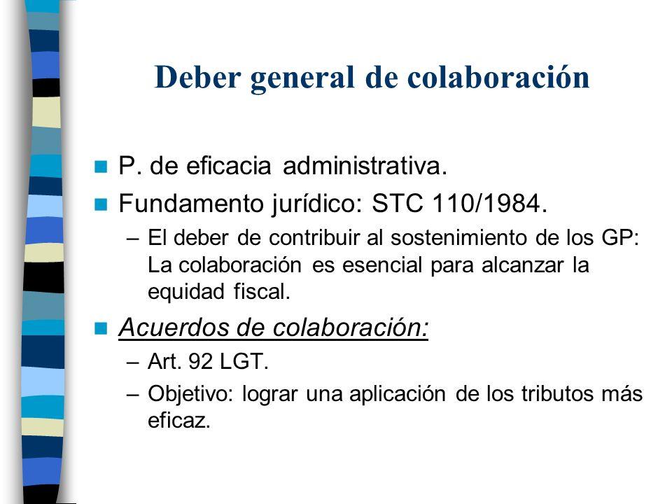 Deber general de colaboración P. de eficacia administrativa. Fundamento jurídico: STC 110/1984. –El deber de contribuir al sostenimiento de los GP: La