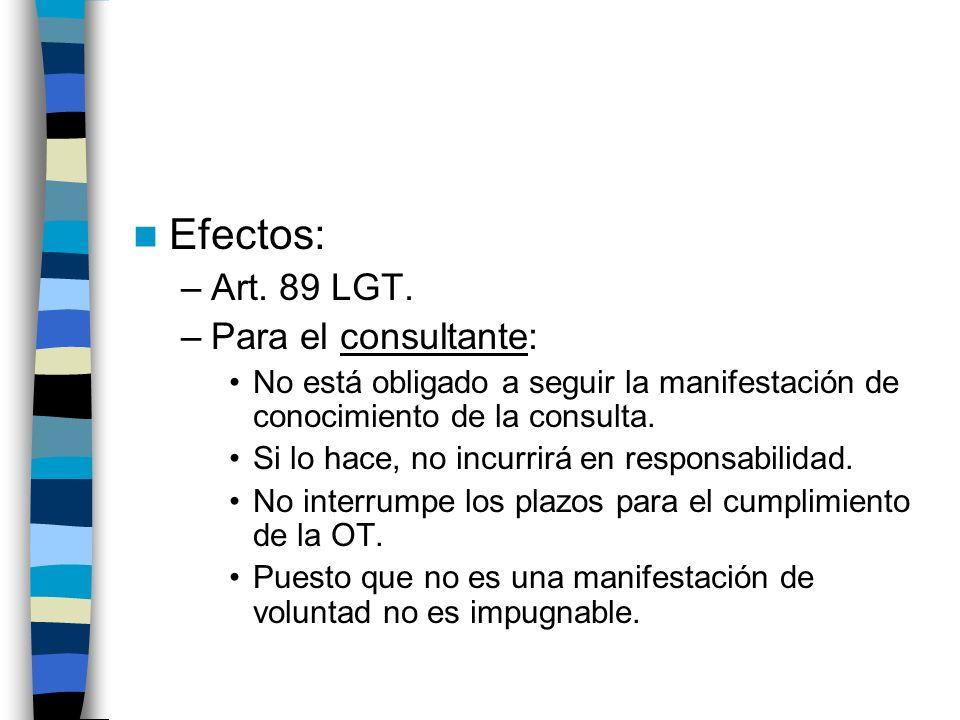 Efectos: –Art. 89 LGT. –Para el consultante: No está obligado a seguir la manifestación de conocimiento de la consulta. Si lo hace, no incurrirá en re