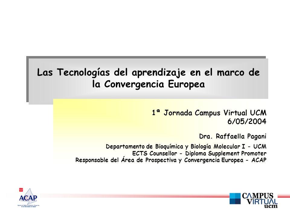Las Tecnologías del aprendizaje en el marco de la Convergencia Europea 1ª Jornada Campus Virtual UCM 6/05/2004 Dra.