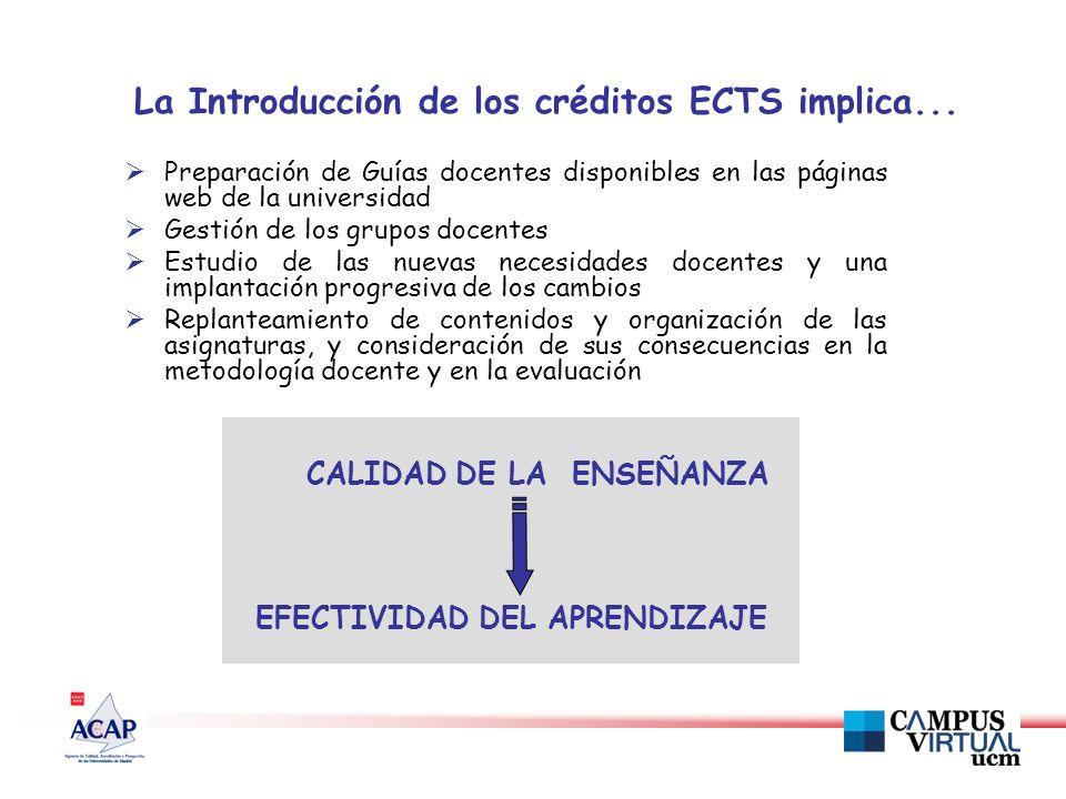 La Introducción de los créditos ECTS implica...