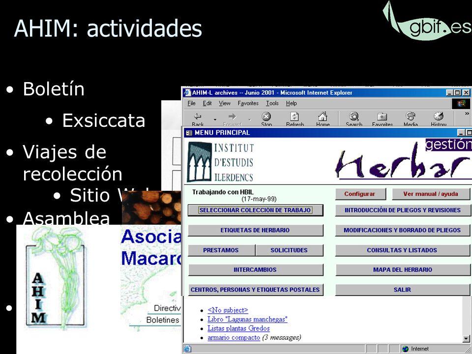 19 Boletín Foro de Internet Asamblea anual Exsiccata Viajes de recolección Sitio Web Aplicación para informatizar colecciones AHIM: actividades