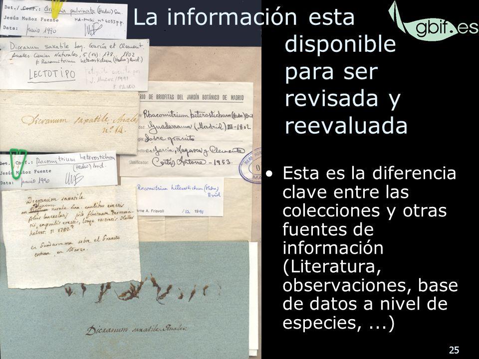 25 Esta es la diferencia clave entre las colecciones y otras fuentes de información (Literatura, observaciones, base de datos a nivel de especies,...) La información esta disponible para ser revisada y reevaluada