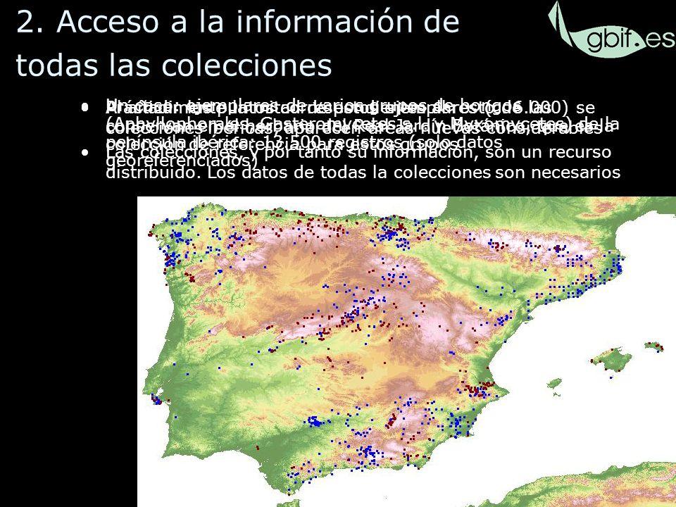 30 Al añadir los puntos correspondientes al resto de las colecciones ibéricas, aparecen áreas nuevas considerables Las colecciones, y por tanto su información, son un recurso distribuido.