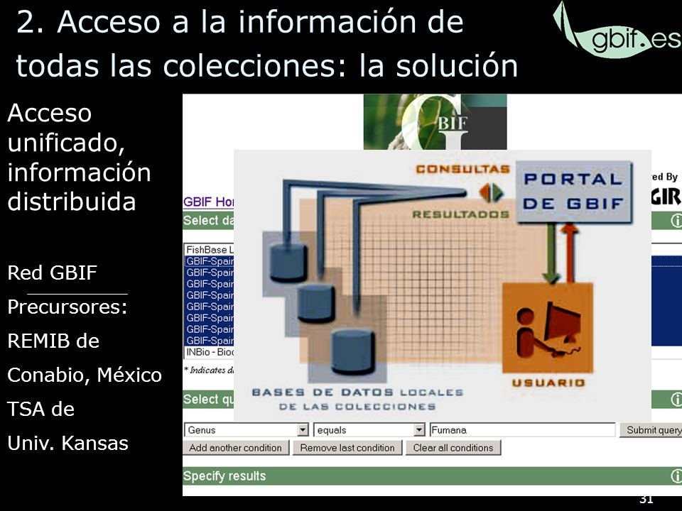 31 Acceso unificado, información distribuida Red GBIF Precursores: REMIB de Conabio, México TSA de Univ.