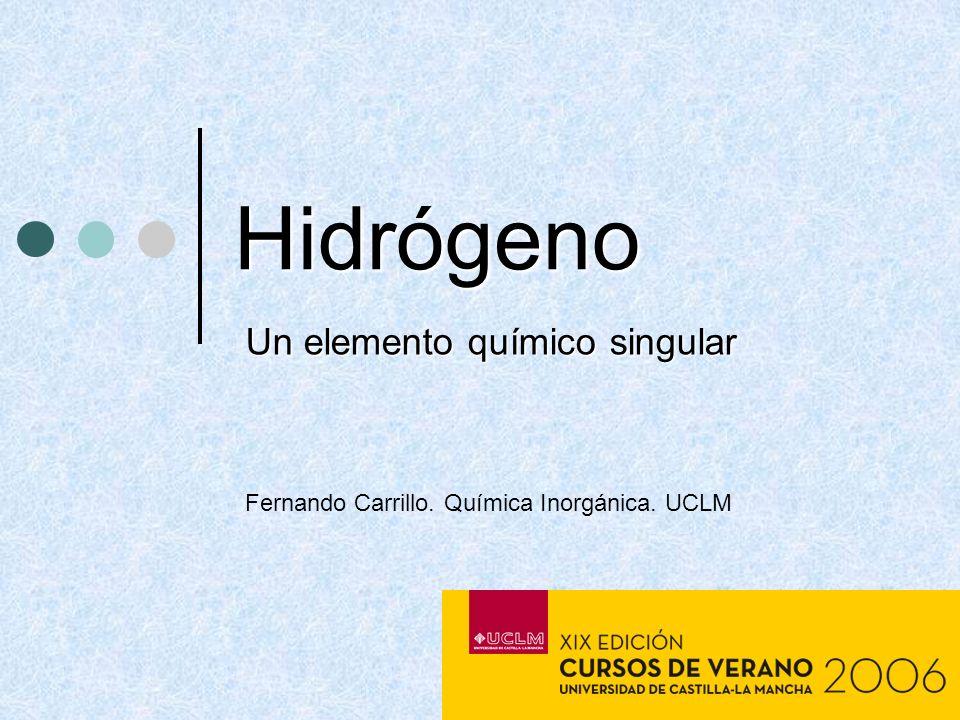 Hidrógeno Un elemento químico singular Fernando Carrillo. Química Inorgánica. UCLM