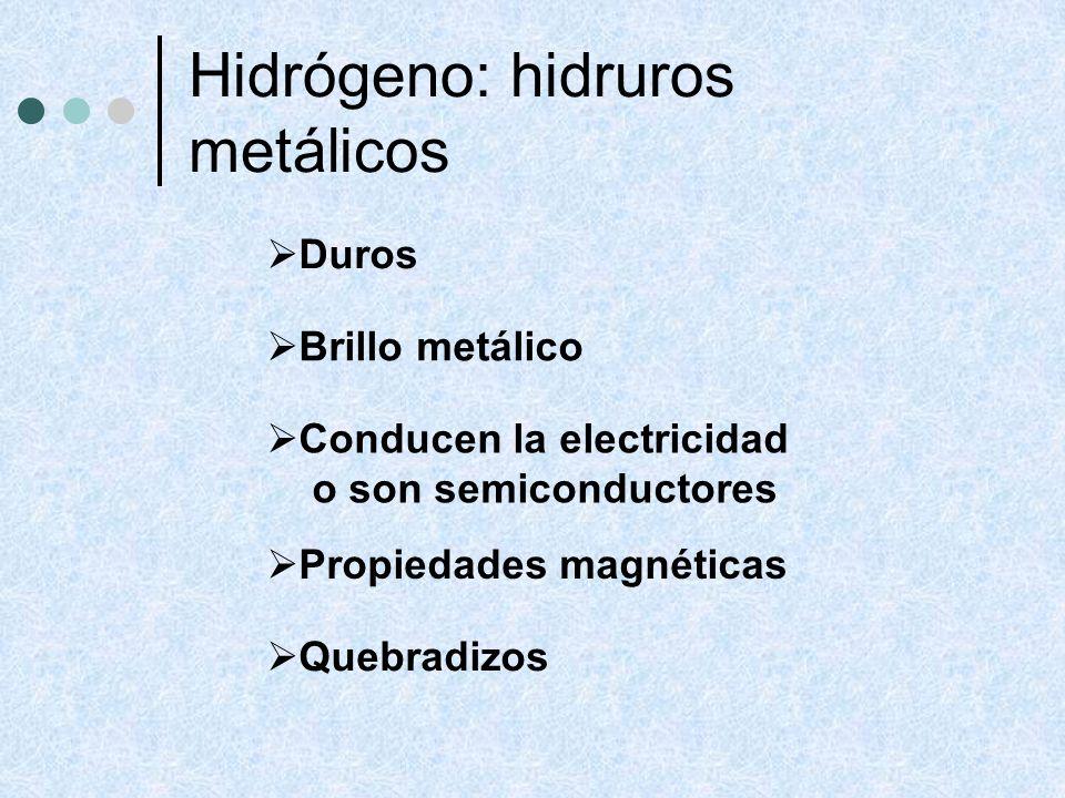 Hidrógeno: hidruros metálicos Duros Brillo metálico Conducen la electricidad o son semiconductores Propiedades magnéticas Quebradizos