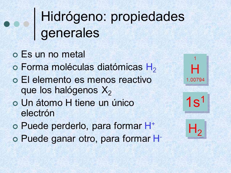 Hidrógeno: propiedades generales Es un no metal Forma moléculas diatómicas H 2 El elemento es menos reactivo que los halógenos X 2 Un átomo H tiene un