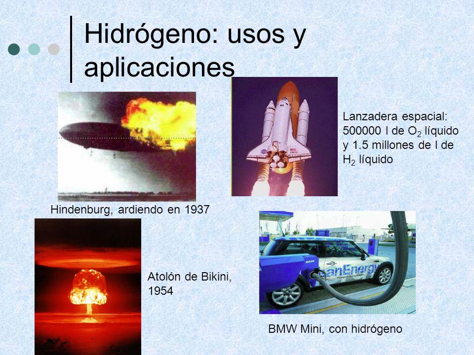 Hidrógeno: usos y aplicaciones Hindenburg, ardiendo en 1937 BMW Mini, con hidrógeno Lanzadera espacial: 500000 l de O 2 líquido y 1.5 millones de l de