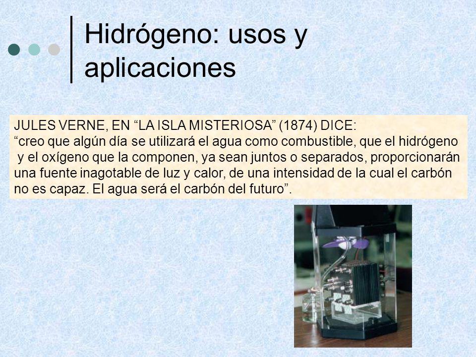 Hidrógeno: usos y aplicaciones JULES VERNE, EN LA ISLA MISTERIOSA (1874) DICE: creo que algún día se utilizará el agua como combustible, que el hidróg
