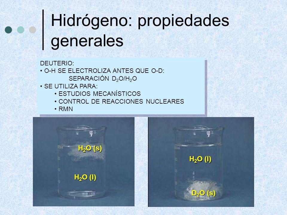 Hidrógeno: propiedades generales DEUTERIO: O-H SE ELECTROLIZA ANTES QUE O-D: SEPARACIÓN D 2 O/H 2 O SE UTILIZA PARA: ESTUDIOS MECANÍSTICOS CONTROL DE