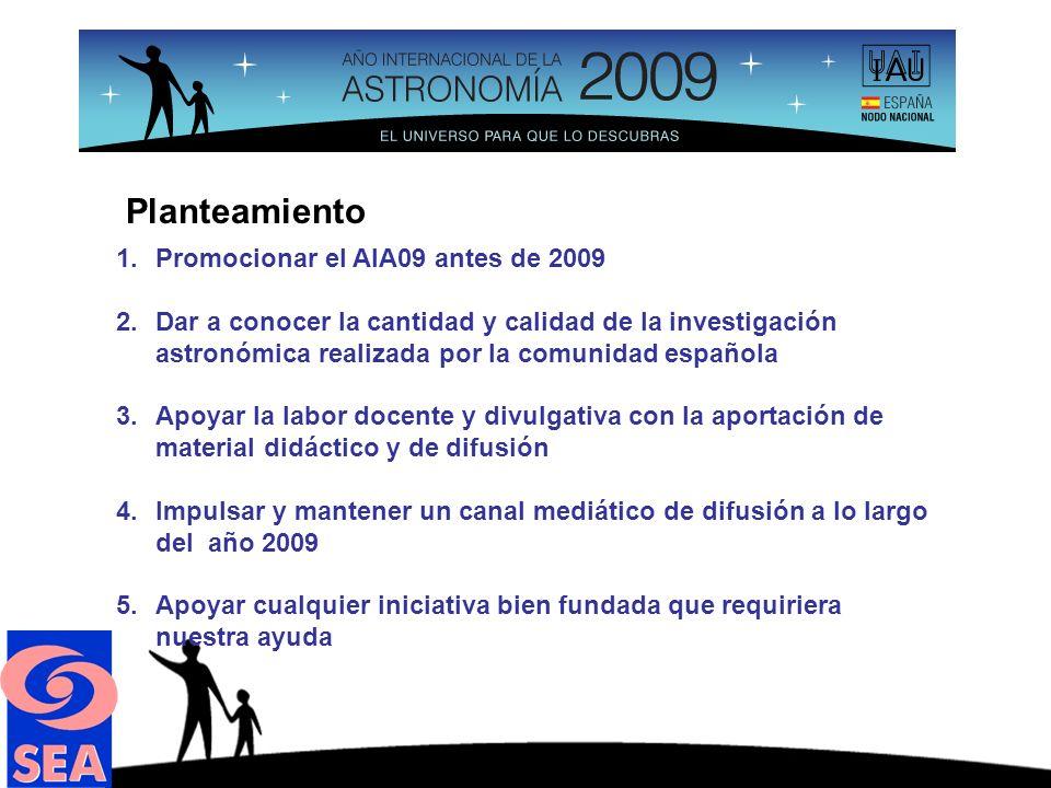 Acciones (realizadas) 1.Se dedicó una sesión al AIA09 en la Reunión Científica de la SEA (Santander 2008)