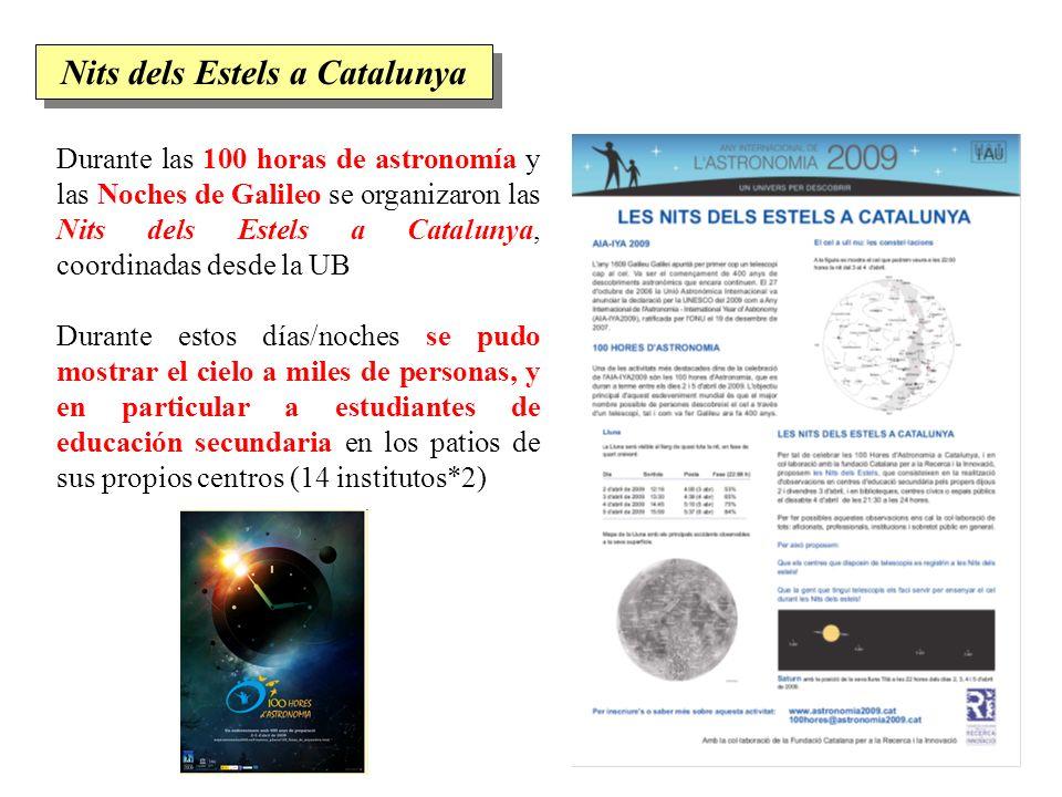 Durante las 100 horas de astronomía y las Noches de Galileo se organizaron las Nits dels Estels a Catalunya, coordinadas desde la UB Durante estos día