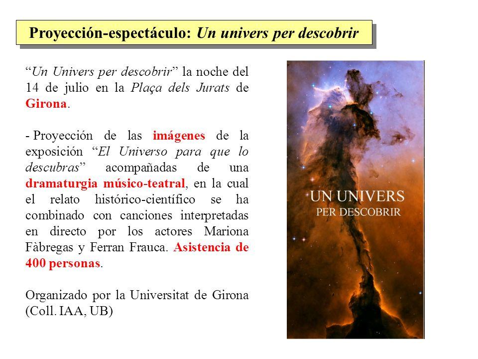 Un Univers per descobrir la noche del 14 de julio en la Plaça dels Jurats de Girona. - Proyección de las imágenes de la exposición El Universo para qu