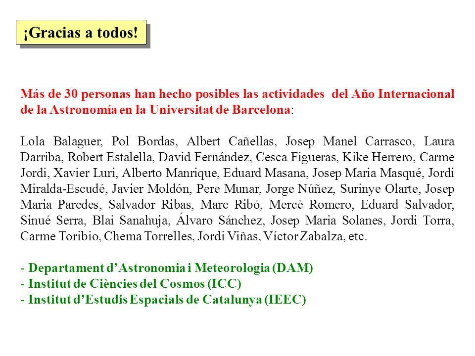 Más de 30 personas han hecho posibles las actividades del Año Internacional de la Astronomía en la Universitat de Barcelona: Lola Balaguer, Pol Bordas