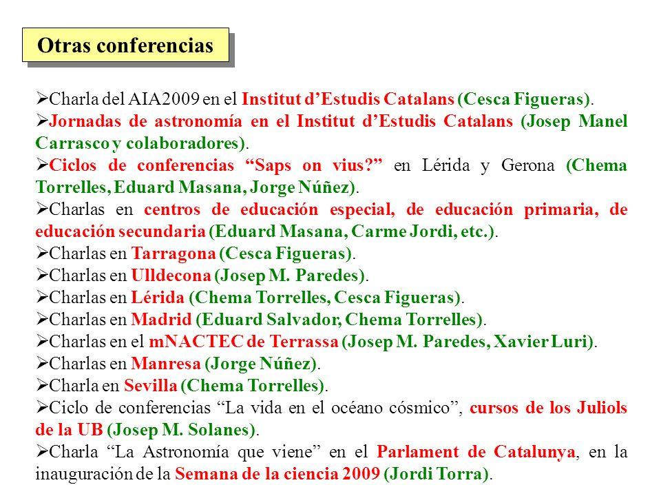 Charla del AIA2009 en el Institut dEstudis Catalans (Cesca Figueras). Jornadas de astronomía en el Institut dEstudis Catalans (Josep Manel Carrasco y