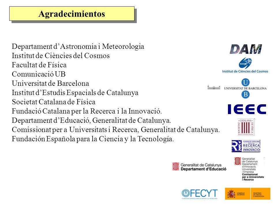 Departament dAstronomia i Meteorologia Institut de Ciències del Cosmos Facultat de Física Comunicació UB Universitat de Barcelona Institut dEstudis Es