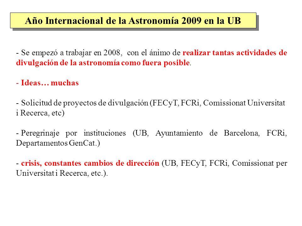 - Se empezó a trabajar en 2008, con el ánimo de realizar tantas actividades de divulgación de la astronomía como fuera posible. - Ideas… muchas - Soli
