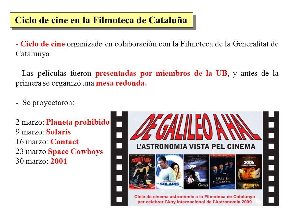 - Ciclo de cine organizado en colaboración con la Filmoteca de la Generalitat de Catalunya. - Las películas fueron presentadas por miembros de la UB,