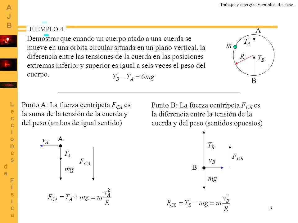 4 Relación entre las velocidades en los puntos A y B Energías: referencia de energías potenciales en B A B m 2R Pregunta.