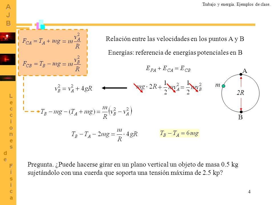 4 Relación entre las velocidades en los puntos A y B Energías: referencia de energías potenciales en B A B m 2R Pregunta. ¿Puede hacerse girar en un p