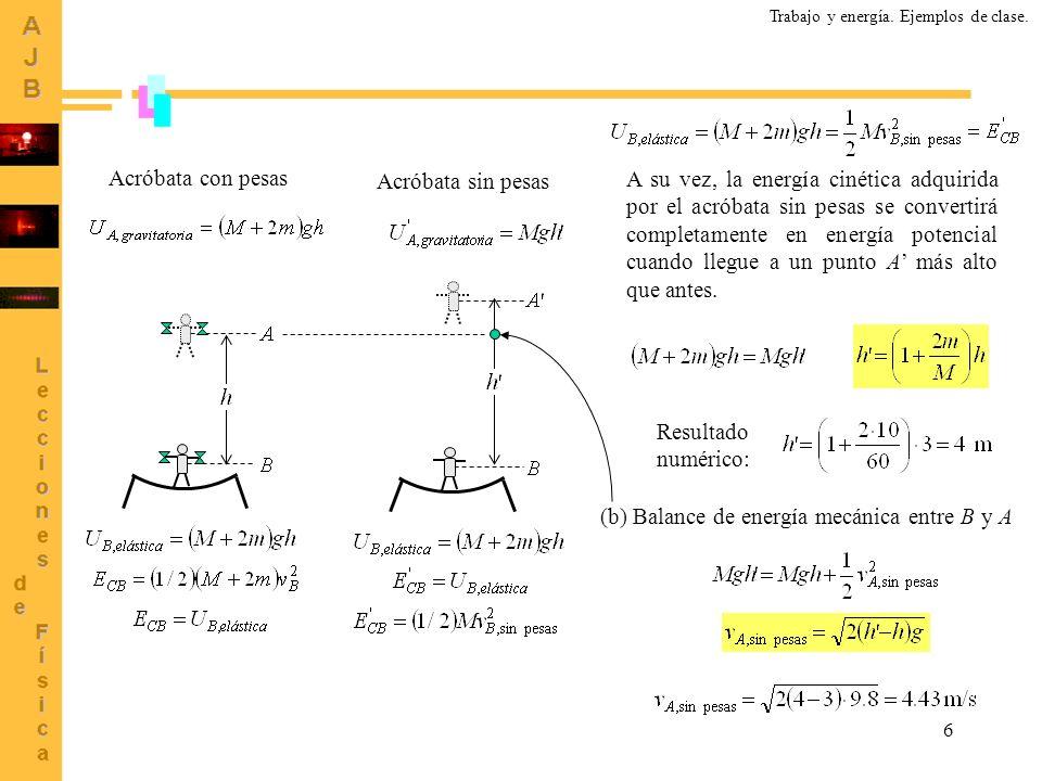 6 Acróbata con pesas Acróbata sin pesas A su vez, la energía cinética adquirida por el acróbata sin pesas se convertirá completamente en energía poten