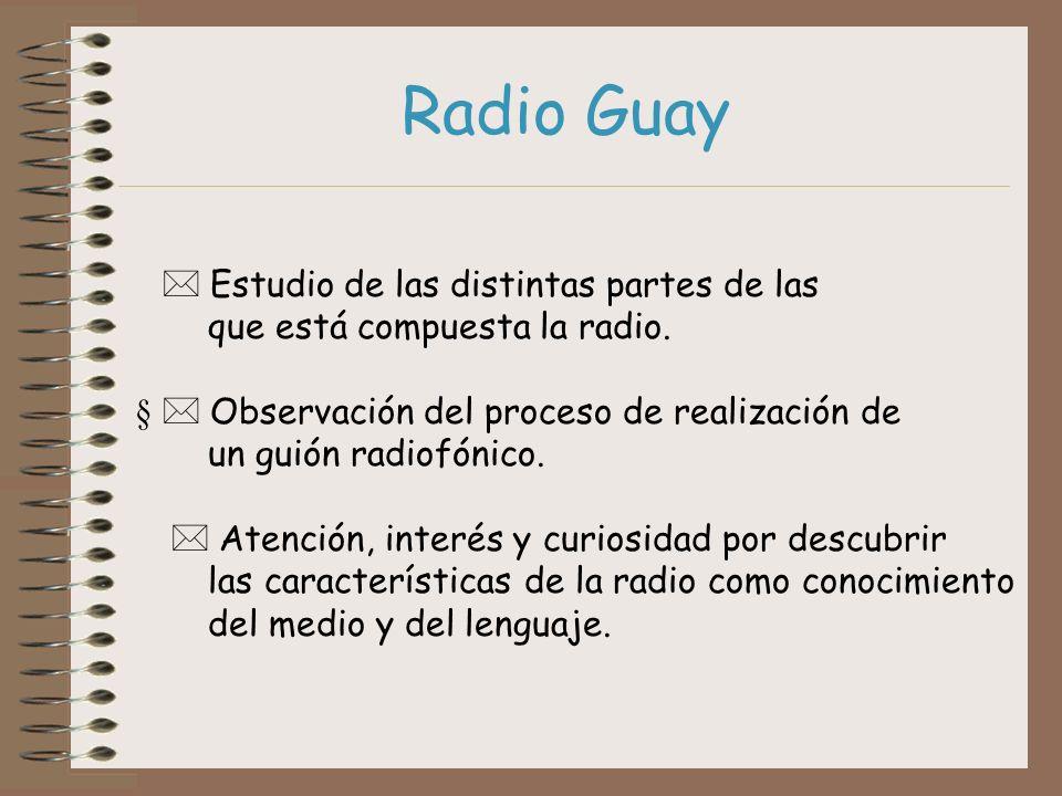 Estudio de las distintas partes de las que está compuesta la radio. Observación del proceso de realización de un guión radiofónico. Atención, interés