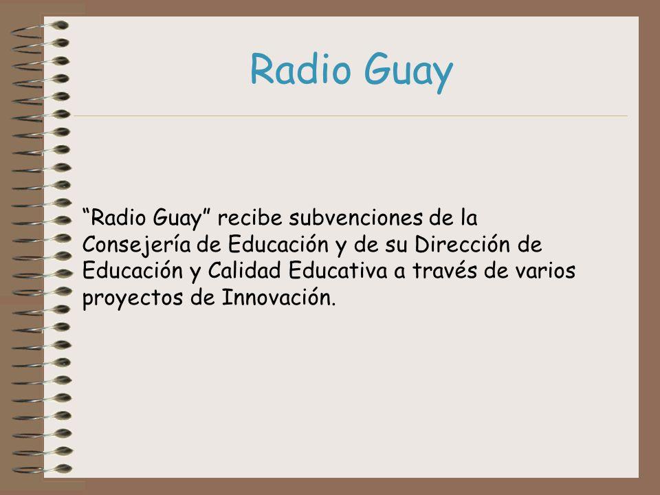 Radio Guay recibe subvenciones de la Consejería de Educación y de su Dirección de Educación y Calidad Educativa a través de varios proyectos de Innova