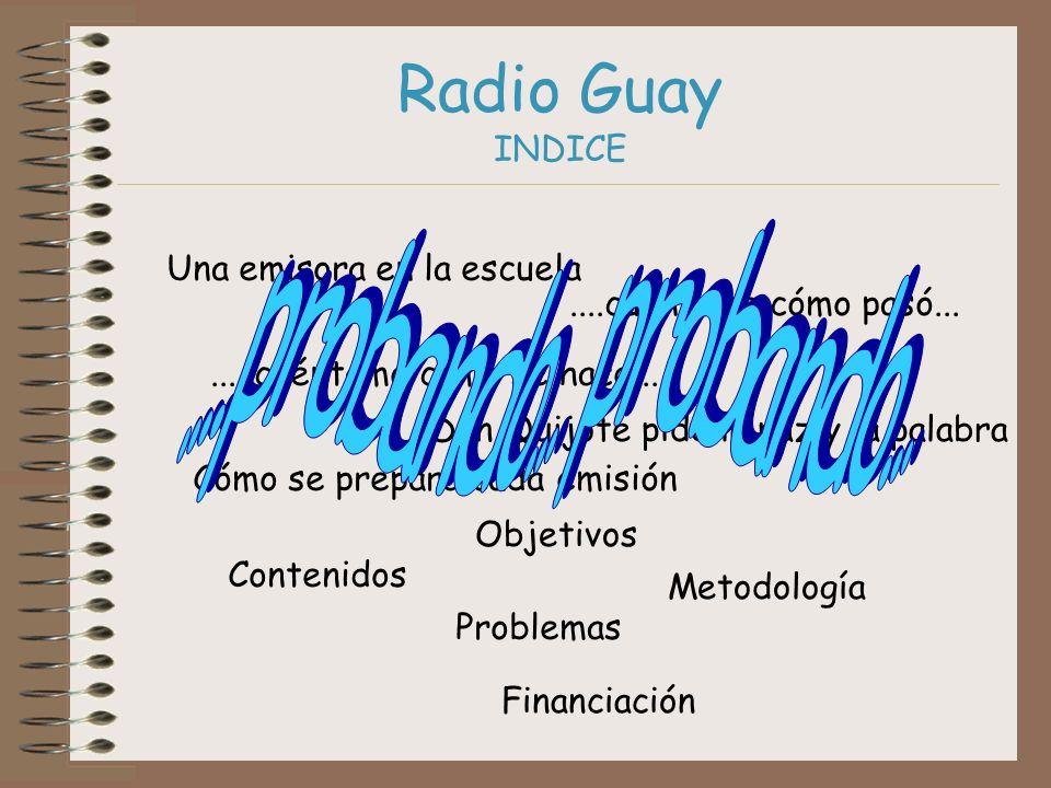 Radio Guay INDICE Una emisora en la escuela....cuéntame cómo pasó........cuéntame cómo se hace..... Don Quijote pide la paz y la palabra Cómo se prepa