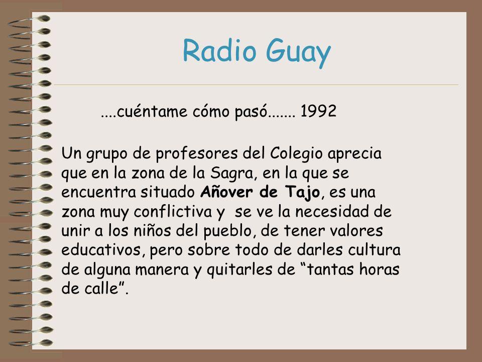 Radio Guay....cuéntame cómo pasó....... 1992 Un grupo de profesores del Colegio aprecia que en la zona de la Sagra, en la que se encuentra situado Año