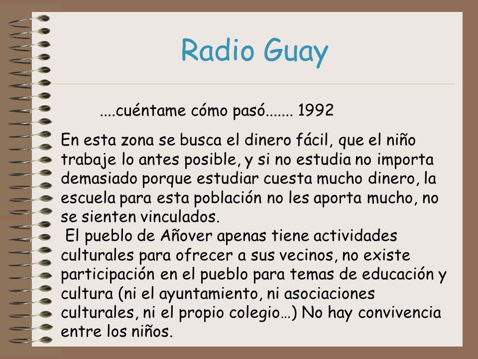 Radio Guay....cuéntame cómo pasó....... 1992 En esta zona se busca el dinero fácil, que el niño trabaje lo antes posible, y si no estudia no importa d