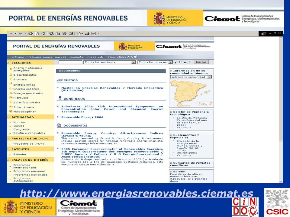 El portal de las energías renovables http://www.energiasrenovables.ciemat.es