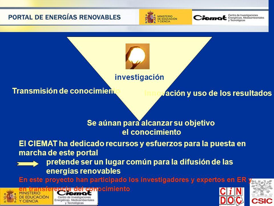 investigación Transmisión de conocimiento Innovación y uso de los resultados Se aúnan para alcanzar su objetivo el conocimiento El CIEMAT ha dedicado