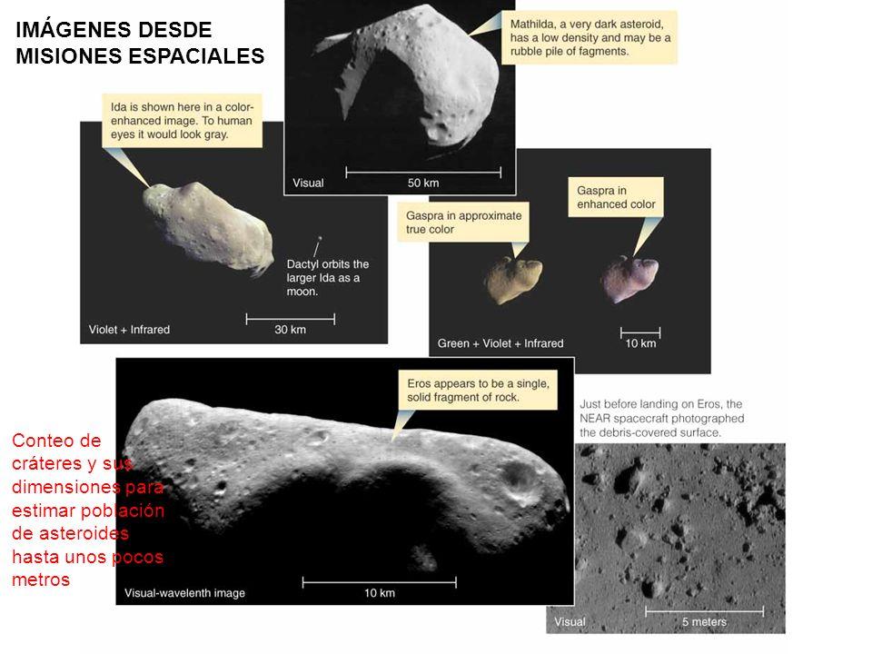 IMÁGENES DESDE MISIONES ESPACIALES Conteo de cráteres y sus dimensiones para estimar población de asteroides hasta unos pocos metros
