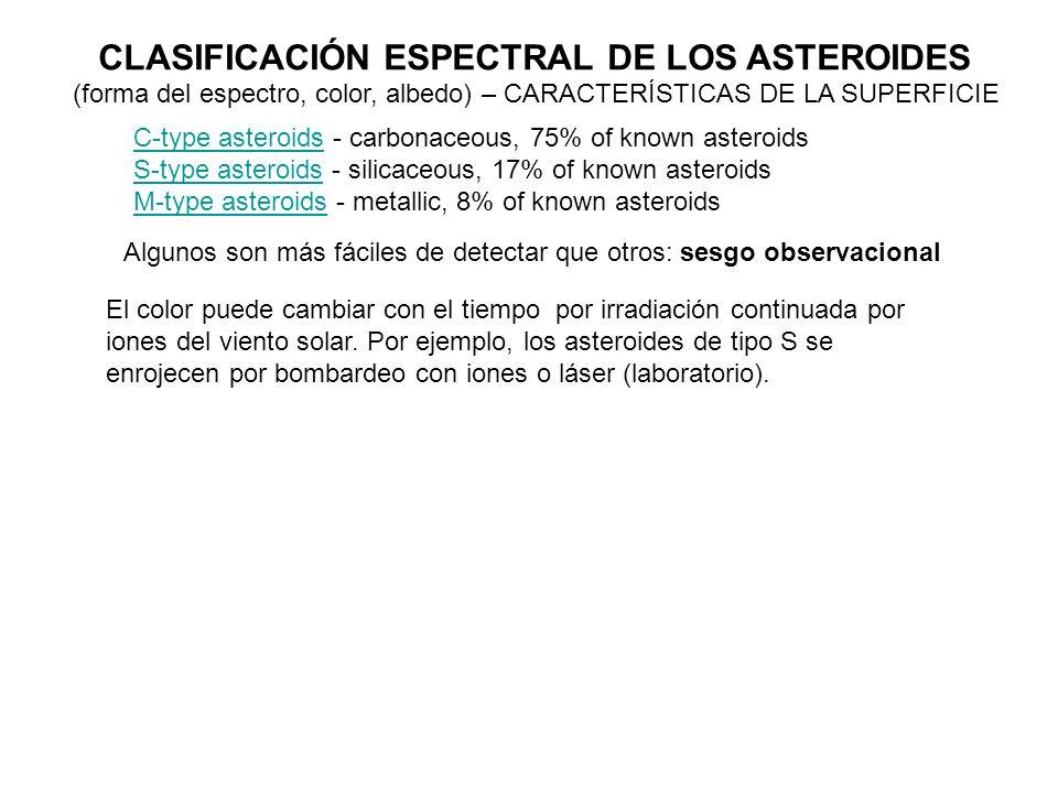 CLASIFICACIÓN ESPECTRAL DE LOS ASTEROIDES C-type asteroidsC-type asteroids - carbonaceous, 75% of known asteroids S-type asteroidsS-type asteroids - s