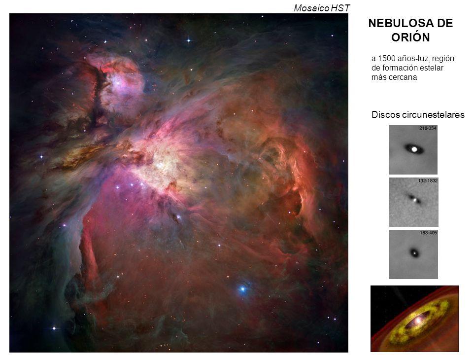 NEBULOSA DE ORIÓN Discos circunestelares a 1500 años-luz, región de formación estelar más cercana Mosaico HST