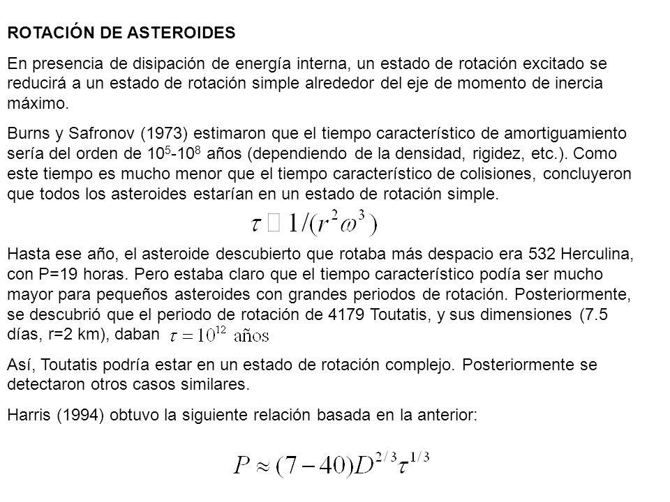 ROTACIÓN DE ASTEROIDES En presencia de disipación de energía interna, un estado de rotación excitado se reducirá a un estado de rotación simple alrede