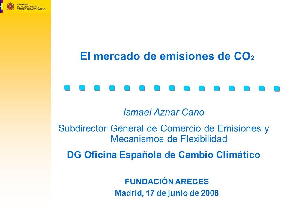 El mercado de emisiones de CO 2 FUNDACIÓN ARECES Madrid, 17 de junio de 2008 Ismael Aznar Cano Subdirector General de Comercio de Emisiones y Mecanism