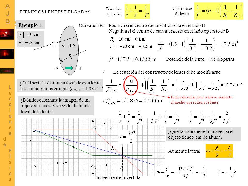 3 EJEMPLOS LENTES DELGADAS Ejemplo 2 A Curvatura R: Positiva si el centro de curvatura está en el lado B Negativa si el centro de curvatura está en el lado opuesto de B B Ecuación de Gauss Constructor de lentes Potencia de la lente: -0.125 dioptrías ¿Cuál sería la distancia focal de esta lente si la sumergimos en agua (n H2O = 1.33).