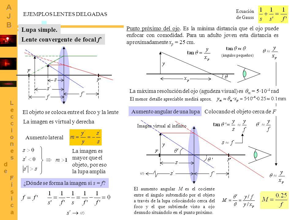 4 Imagen virtual al infinito EJEMPLOS LENTES DELGADAS Ecuación de Gauss Lupa simple. Lente convergente de focal f El objeto se coloca entre el foco y