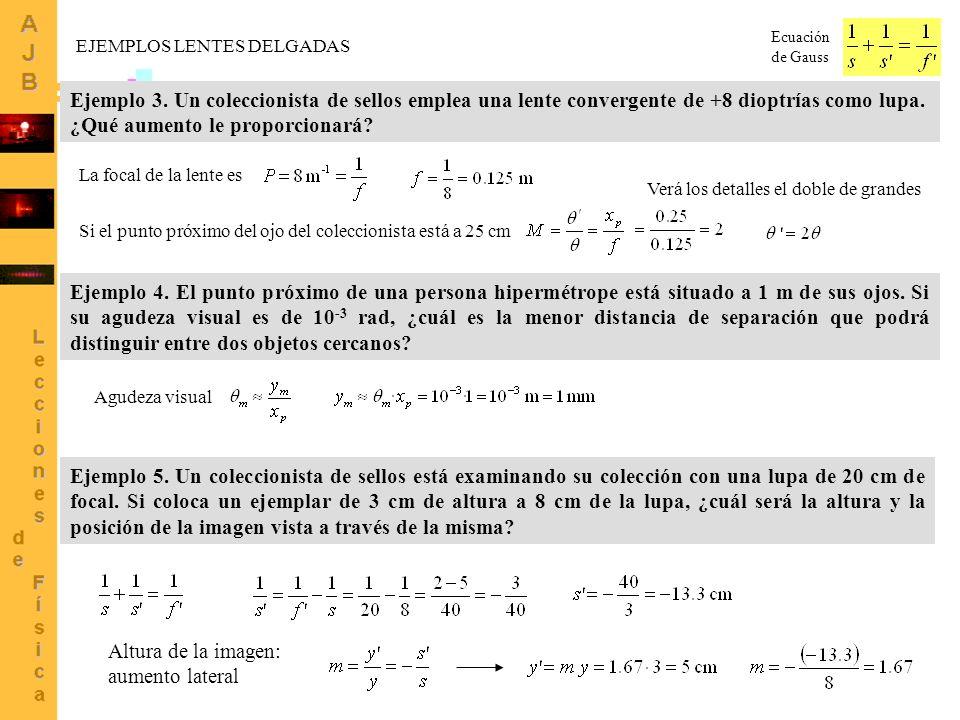 5 Ecuación de Gauss EJEMPLOS LENTES DELGADAS Ejemplo 3. Un coleccionista de sellos emplea una lente convergente de +8 dioptrías como lupa. ¿Qué aument