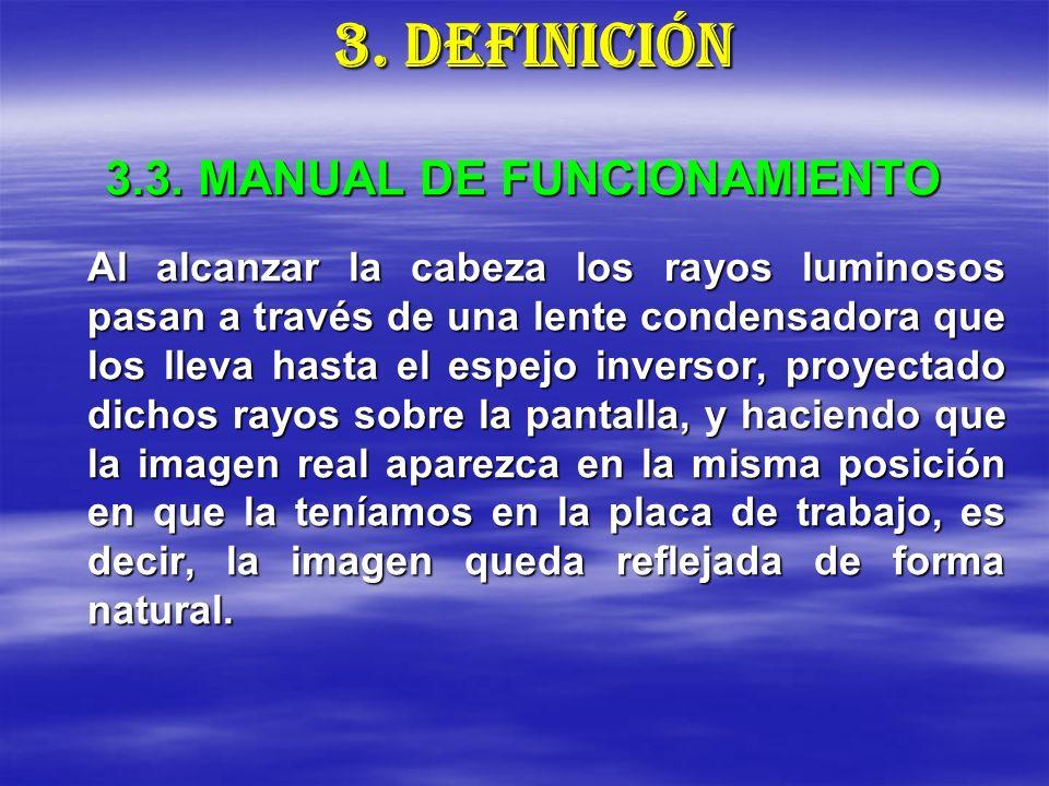 3.3. MANUAL DE FUNCIONAMIENTO Al alcanzar la cabeza los rayos luminosos pasan a través de una lente condensadora que los lleva hasta el espejo inverso