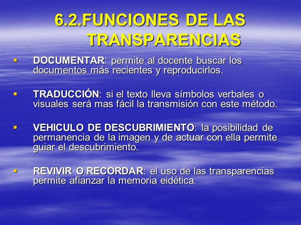 6.2.FUNCIONES DE LAS TRANSPARENCIAS DOCUMENTAR: permite al docente buscar los documentos más recientes y reproducirlos. DOCUMENTAR: permite al docente