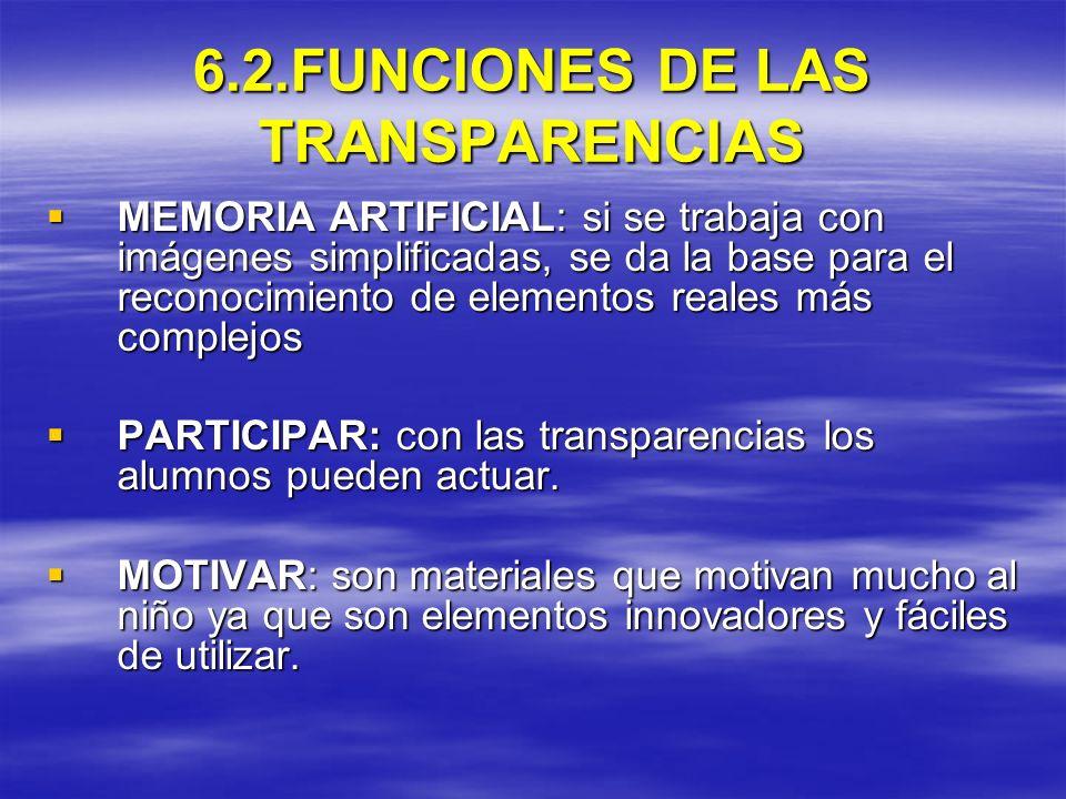 6.2.FUNCIONES DE LAS TRANSPARENCIAS MEMORIA ARTIFICIAL: si se trabaja con imágenes simplificadas, se da la base para el reconocimiento de elementos re