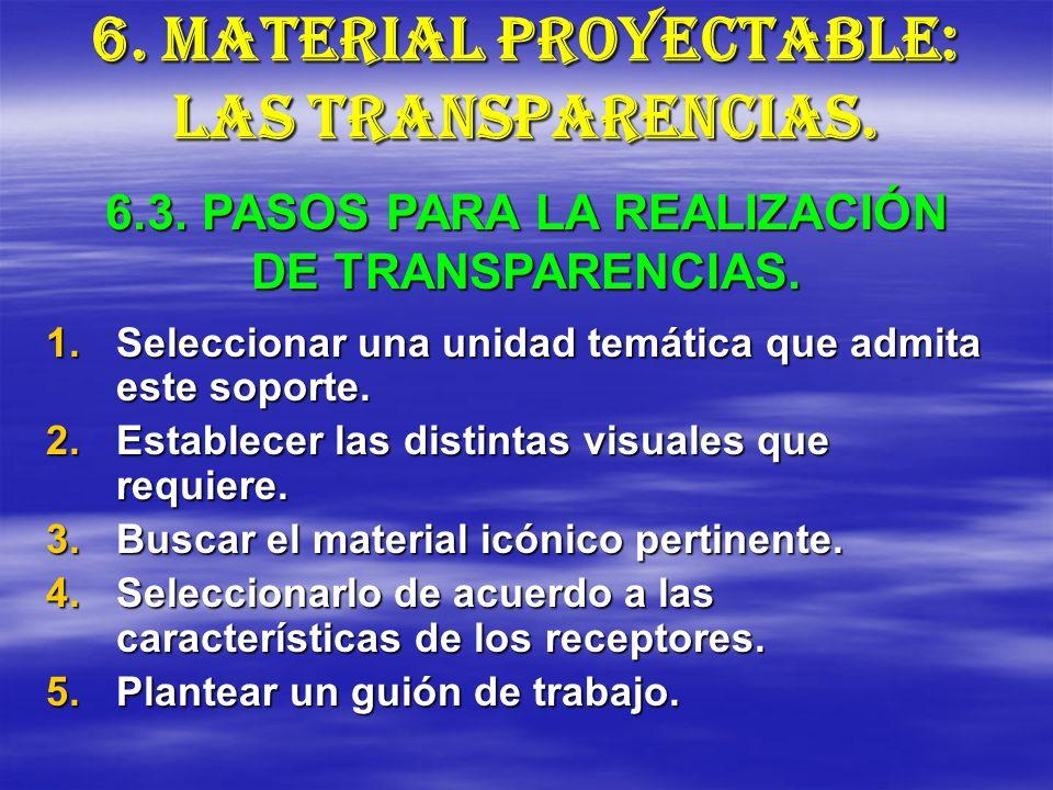 6. MATERIAL PROYECTABLE: LAS TRANSPARENCIAS. 1.Seleccionar una unidad temática que admita este soporte. 2.Establecer las distintas visuales que requie